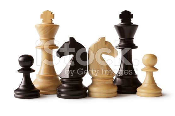 Chess: Kings, Knights and Pawns royalty-free stock photo