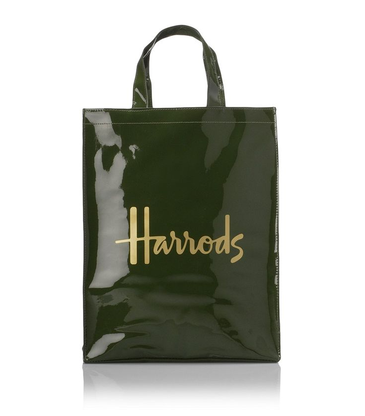 Harrods famous green and black shopping tote bags