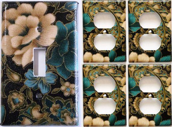 flowers floral blue tan glitter Bedroom Light Switch Plate