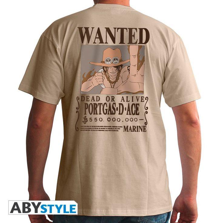 Camiseta One Piece, Se busca, Portgas D. Ace  Camiseta de One Piece con el popular Se Busca (Wanted) en esta ocasión de Portgas D. Ace, el hermano mayor adoptivo de Luffy y Sabo. Con solo 17 creó su propia tripulación y comandó a los Piratas Spade.