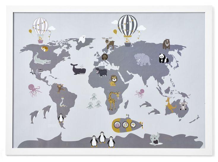 Världskarta är en rolig tavla föreställande våra olika världsdelar. På hela världskartan finns det djur illustrerade på ett lekfullt vis. Världskarta tavla kommer komplett med vit ram och är bara att hänga upp på väggen eller ställa på din tavellist.