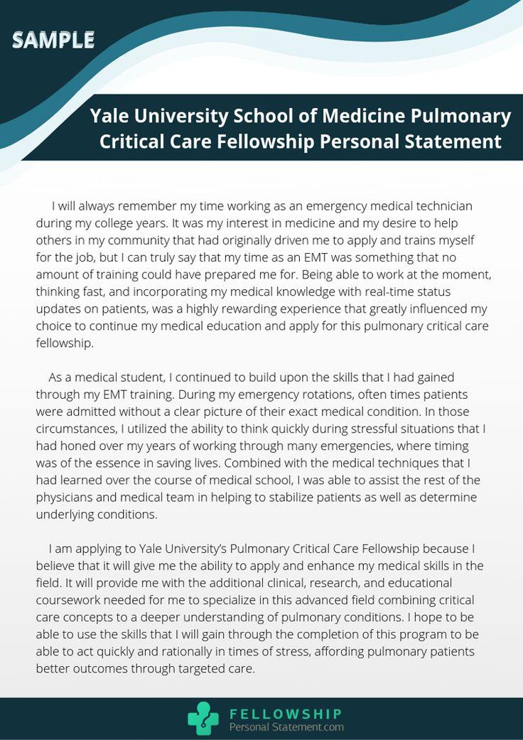 PUlmonary critical care fellowship personal statement