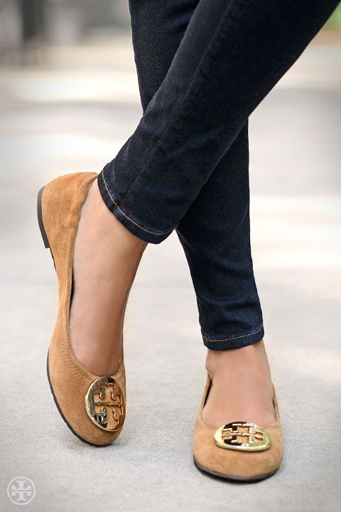 Tory Burch Reva Ballet #Flat — a hit of gold always adds polish.