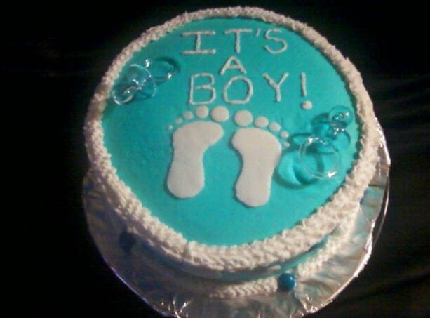 Cake Art Plastic Icing Review : 10 inch blue baby boy shower cake. Yellow cake covered ...