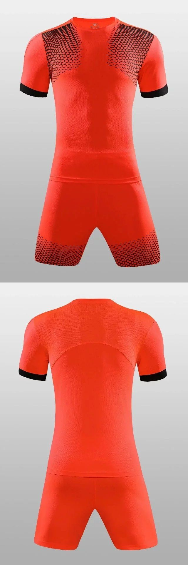 Football Jersey Men's #soccer kits print Long sleeve jersey football sets training Sports suit soccer jerseys orange 17/18