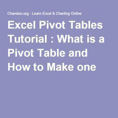 Excel Pivot Tables Tutorial : What is a Pivot Table and How to Make one