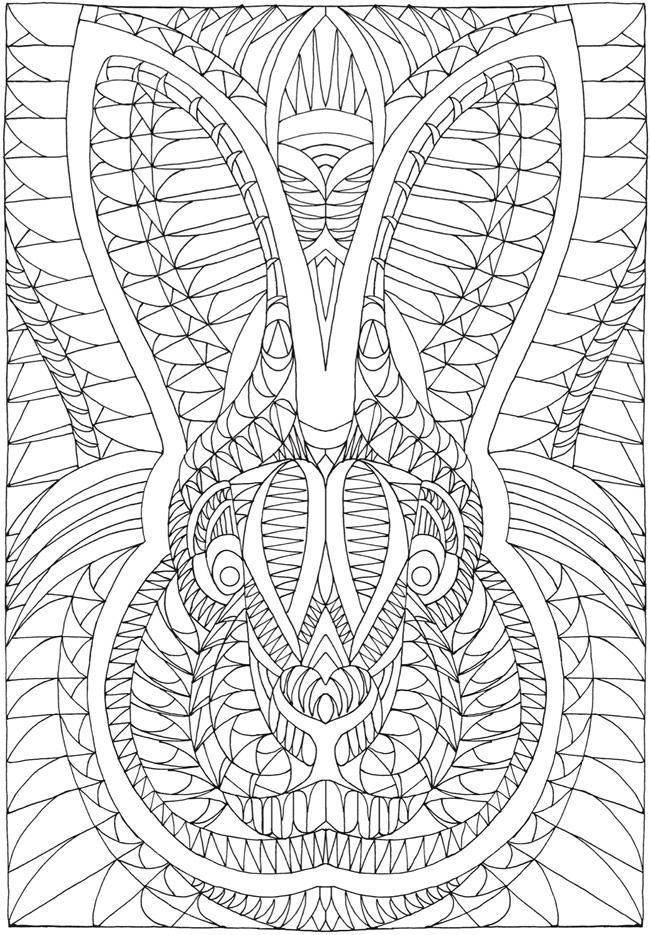Insanely intricate angular animals coloring book