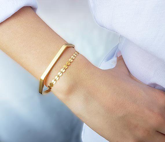 Bracelet manchette en or, ensemble de bracelets manchette, cadeaux uniques pour femmes, manchette superposable, bracelet maigre, bracelet de tatouage en or, bracelet en pièce d'or   – fashion & style