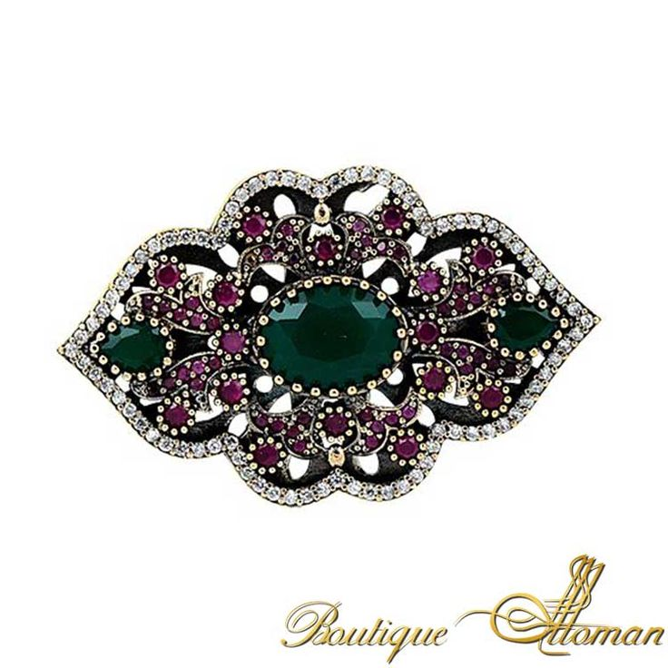 Silver Emerald Authentic Brooch - Ottoman Silver Jewelry #brooch #brooches #silverbrooches #jewelry #clothesjewelry