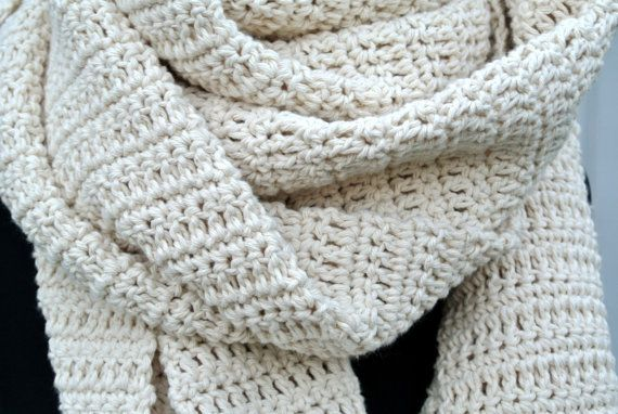 This listing is for a handmade creme colored cotton crochet scarf.  Its made out of 100% Cotton.  This is made out of a heavy cotton yarn.  You