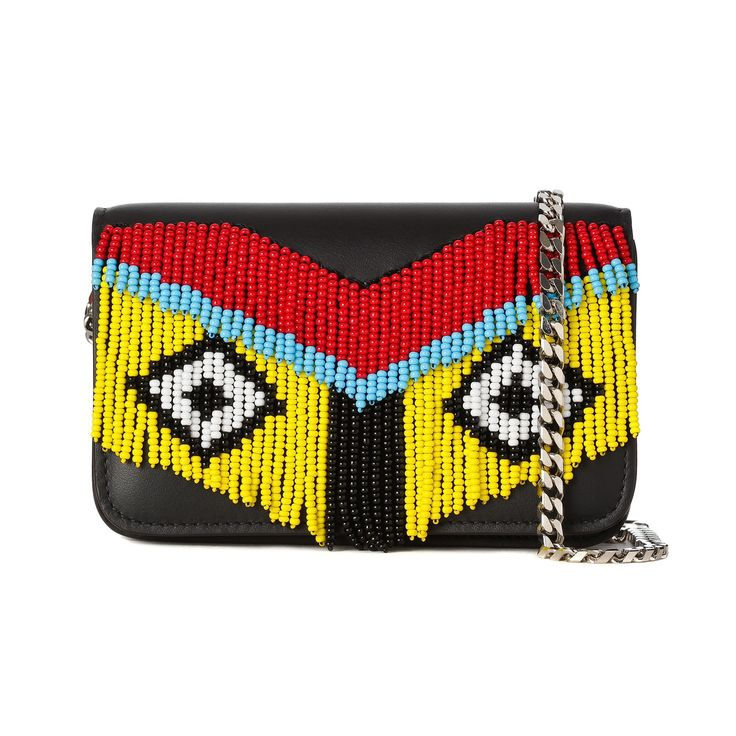 Micro Janis Fringe Clutch Les Petits Joueurs Calf leather black mini clutch with detachable chain strap and multi coloured bead fringe. Black cotton lining, silver tone accessories THE BOX BOUTIQUE, THIS MUST BE THE PLACE, E-commerce, Bags, FREE UK DELIVERY, International Shipping, Buy Now, Luxury Brands, Fashion