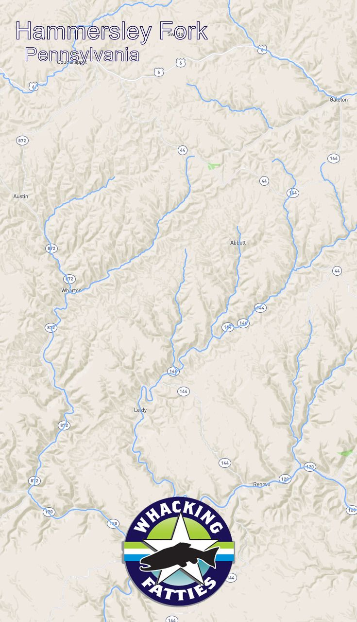 Hammersley Fork, Pennsylvania fly fishing report. Check out Whacking Fatties for the latest fly fishing report and forecast.  With the goal of better understanding fly-fishing patterns and predicting location and ferocity of fishable events, Whacking Fatties presents the Fatty Factor: a fly-fishing success estimation model using proprietary big data analytics.  We promote responsible fishing via catch and release practice and water resources conservation. Philadelphia, Pittsburgh, Allentown…