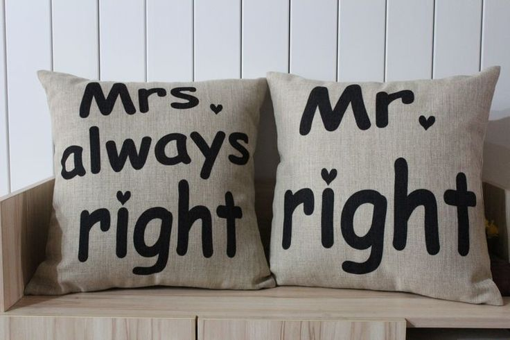 Mr. Right and Mrs Always Right Cotton Linen Pillow Cover