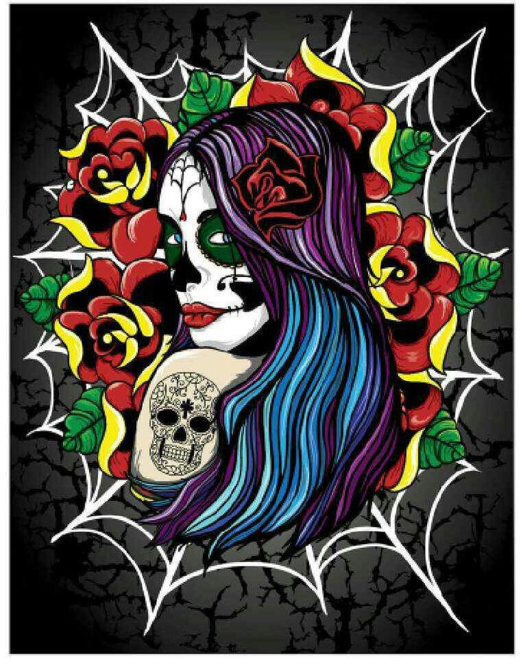 Tattoo Style School Project To Get Practice With The Wacom Tablet Day Of Dead Girl Illustration