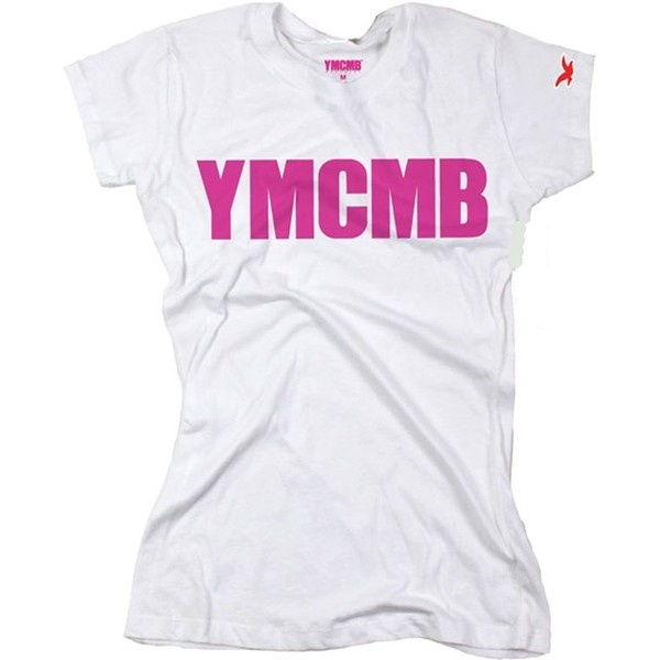YMCMB Juniors T-shirt Pink Print Young Money Cash Money ($25) ❤ liked on Polyvore