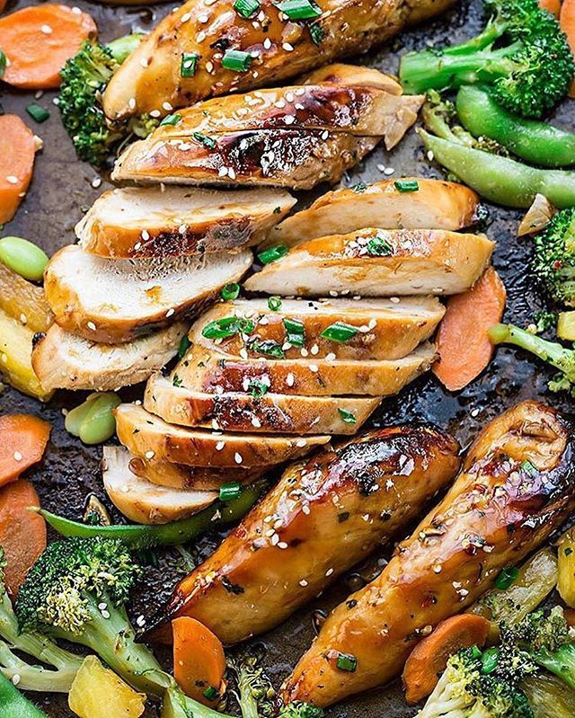 Sheet Pan Teriyaki Chicken with Vegetables Recipe by @alyssa_therecipecritic@alyssa_therecipecritic . Full recipe with directions, as well as many more like it, can be found on @alyssa_therecipecritic's blog. Direct link in her bio! . Ingredients: Teriyaki Glaze 1¼ cups low sodium soy sauce 4-5 tablespoons honey (depending on how sweet you like it) 4 tablespoons rice wine vinegar* 1½ teaspoons sesame oil (plus more for drizzling on vegetables) 3 garlic cloves, minced ¾ teaspoon grated or…