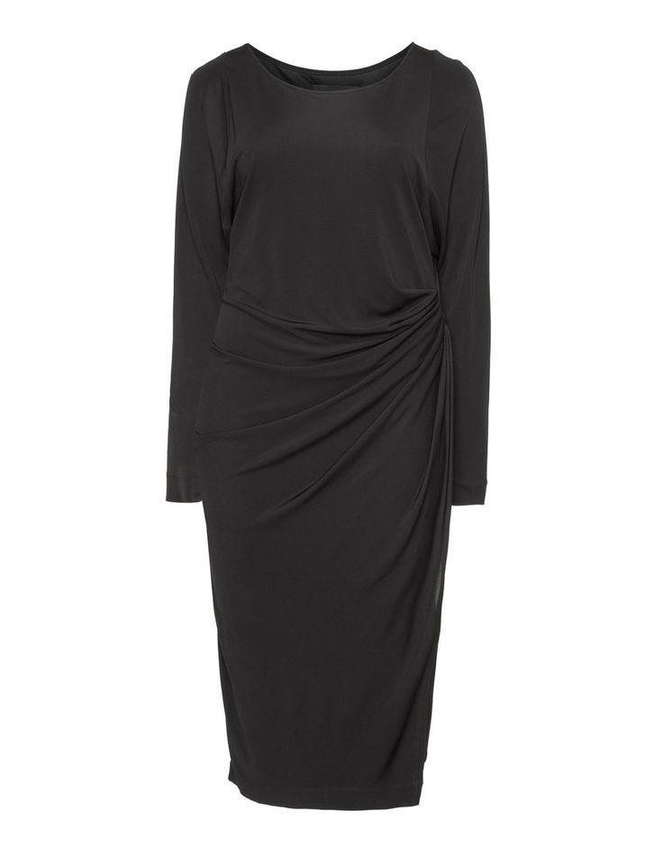 Zizzi Drapiertes Kleid aus Jersey in Schwarz