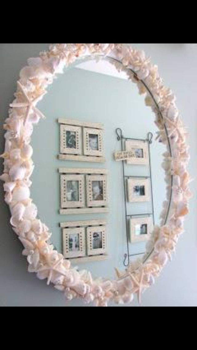Use seashells to frame a mirror