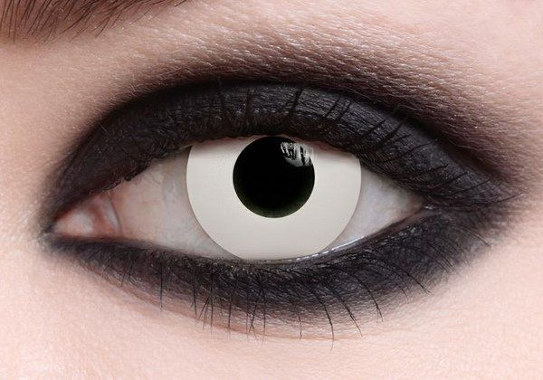 colored contact lenses halloween white lenses black make up
