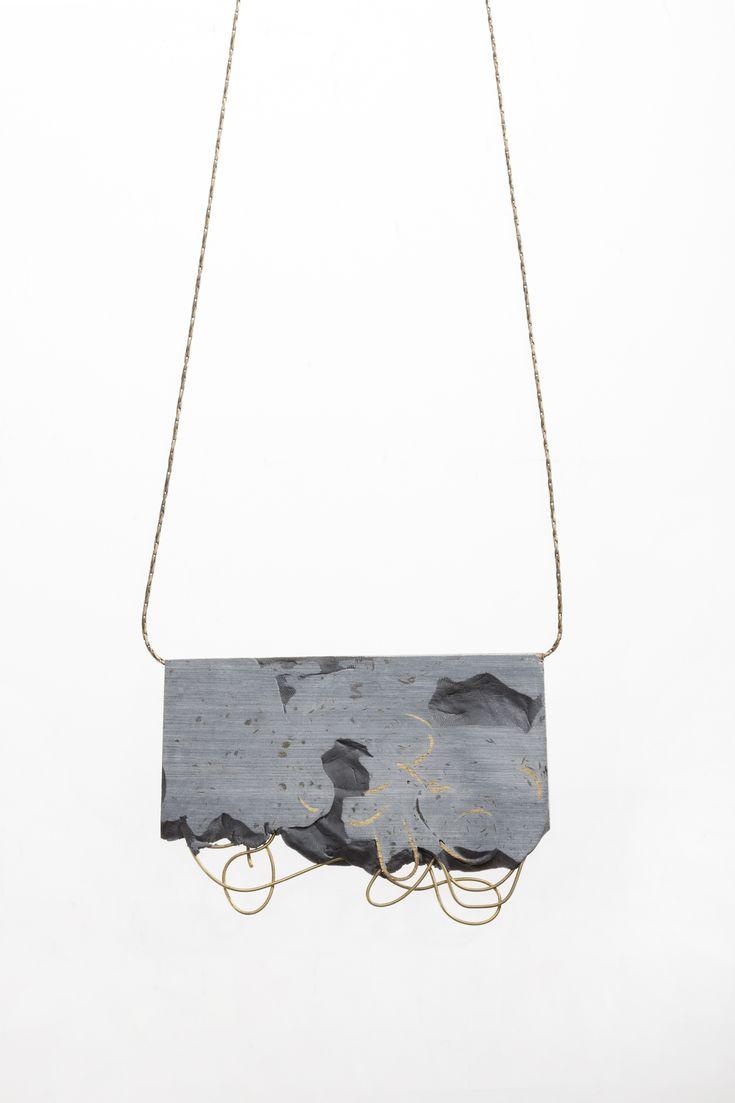 Blass & polymer pendant; wearable art; contemporary jewellery design // Noy Alon