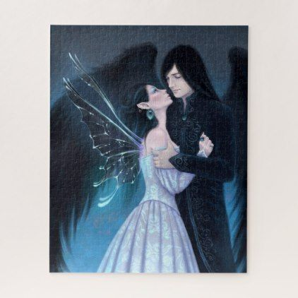 Sapphire Fairy Angel Romance Jigsaw Puzzle - home gifts ideas decor special unique custom individual customized individualized
