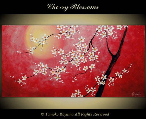 16 best images about jap on pinterest chinese restaurant for Canvas painting of cherry blossoms