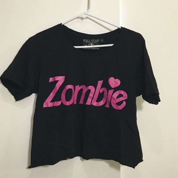 Kill Star ZOMBIE crop top Kill star zombie tee in Barbie font, pastel goth style. Bottom has been cut into a slight crop. CHEAPER ON MERC  UNIF Tops Crop Tops