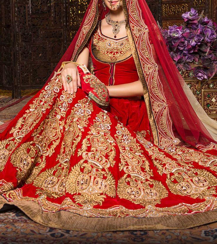 Red Embroidered #VelvetLehenga Set #Indianroots