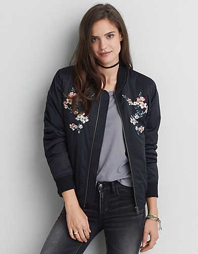 "Lightweight and versatile in vintage-inspired and fresh printed styles, the bomber is fall's ""it"" layer."