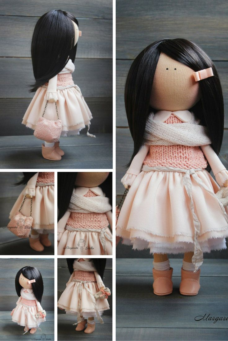 Art doll Handmade brunette peach color by AnnKirillartPlace