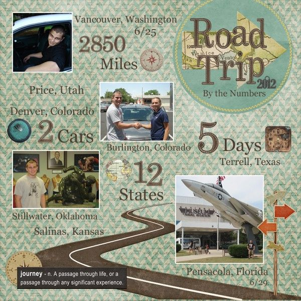 road trip stats/ vacation stats - Great 1st or last page for album