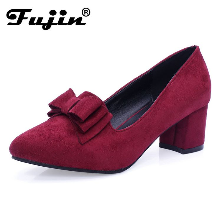 2017 slipony Brand Big Size Women spring shoes bow square shoe heel women Female Ladies Party With Bow slip on Brand Women Pumps