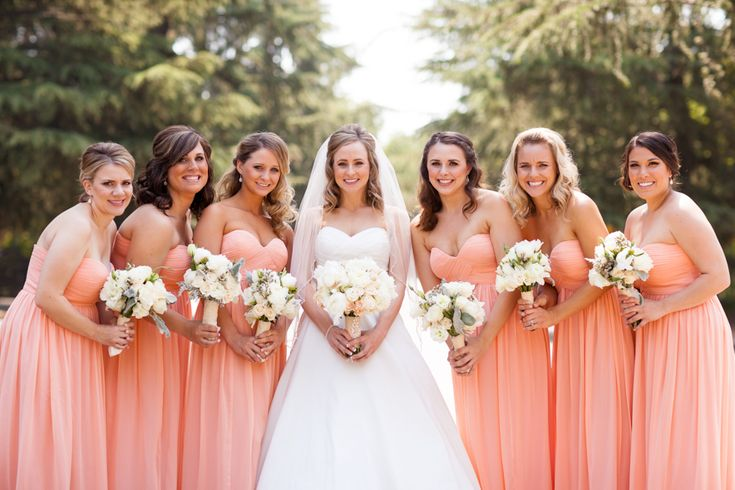 Ivory Wedding Gowns: My Overall Look With Peach-colored Bridesmaid Dresses