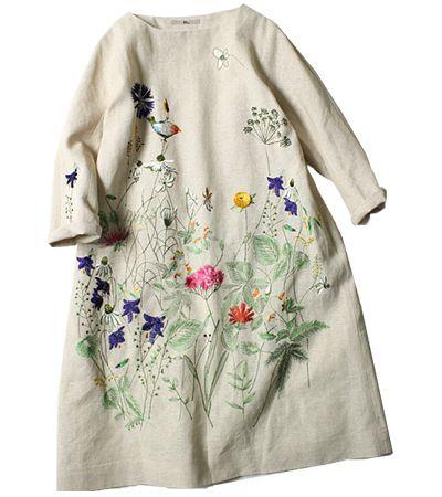 45R Online Storeギマツイード刺繍ワンピース: Lady's これ半袖にすればアッパッパやん?