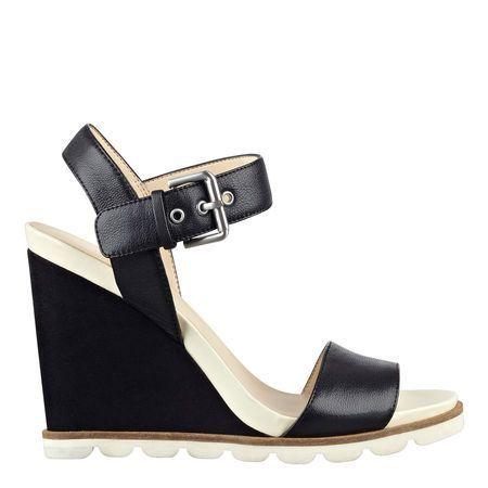 Black Leather Gronigen Wedge Sandals   Nine West