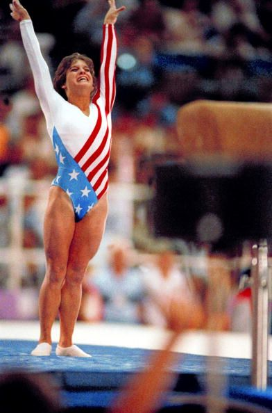 1984 Summer Olympics USA Mary Lou Retton in action during end of balance beam event Los Angeles CA 8/1/1984