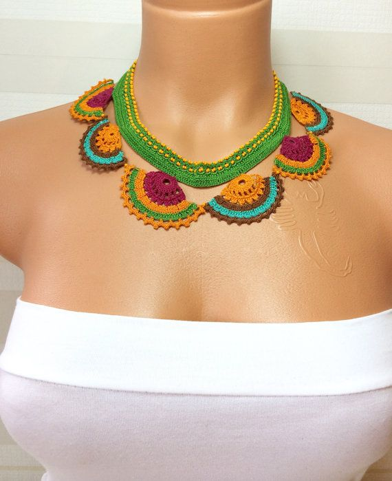 Crochet Handmade Lace Jewellery,Turkish Oya,Gift Necklace,Brides Accessories,Multi Color