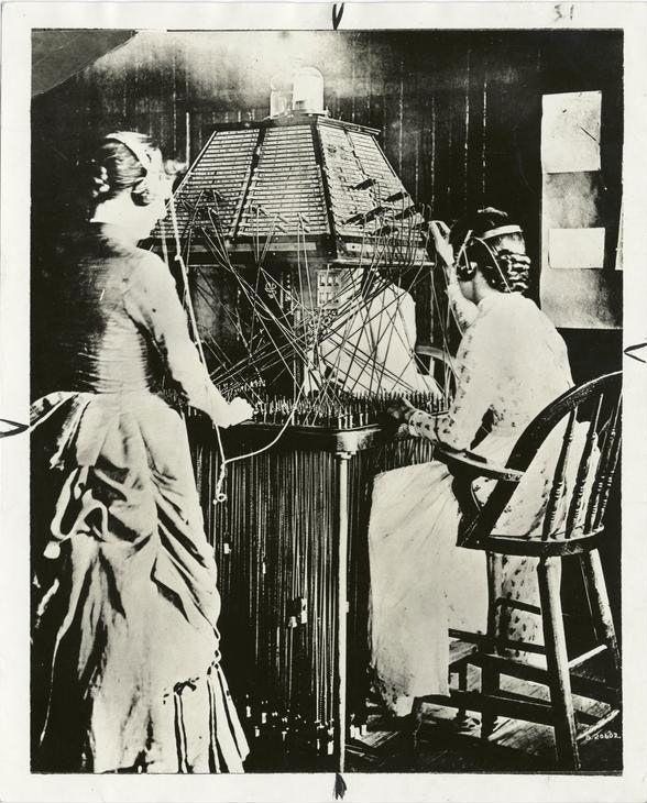 """Pyramid telephone switchboard, installed at Richmond, Va., 1882."""