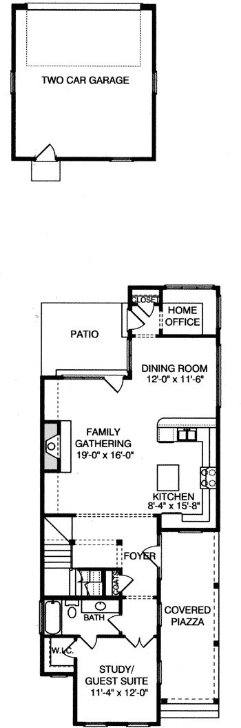 Plan 9395el four bedroom narrow lot home bedrooms side for Home plans com