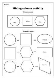 English Worksheets: Mixing colours activity