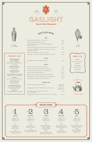 Gaslight Menus. Beautiful restaurant menu    Gaslight is an American Brasserie in Boston's South End district. The menus incorporate the feel of a traditional brasserie with an American twist. Designed at Tank Design.