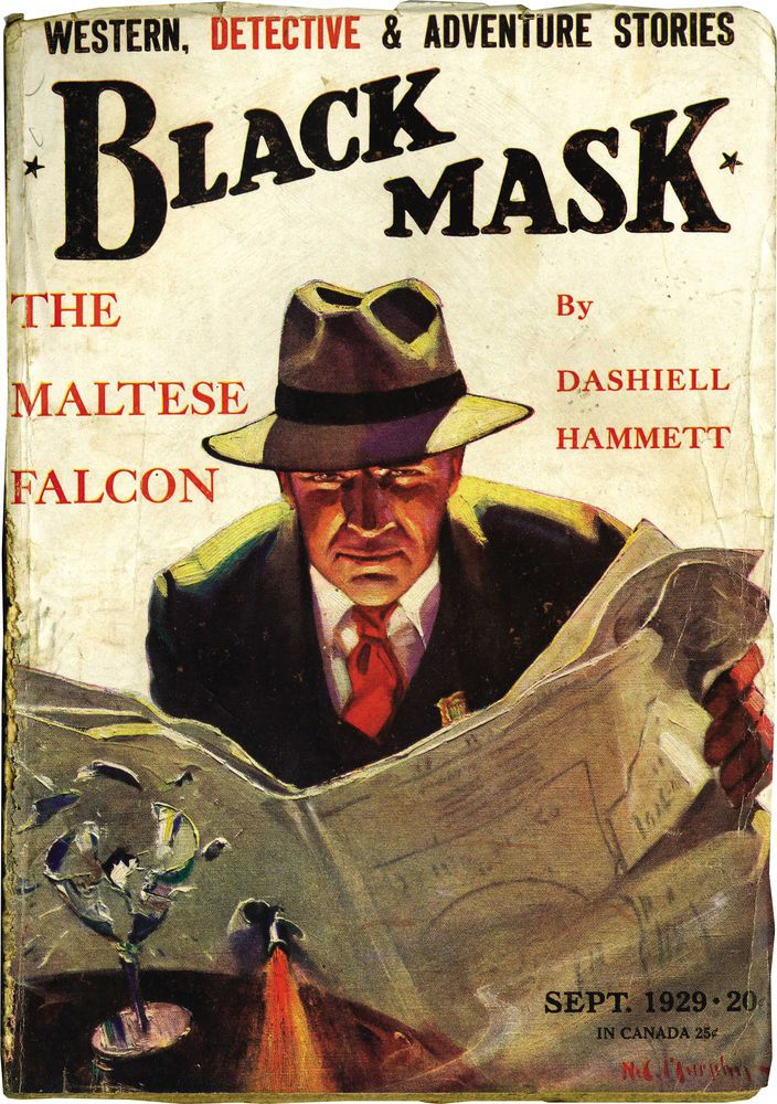 """Black Mask, Sept. 1929, containing the initial publication of Dashiell Hammett's """"The Maltese Falcon."""" Cover illustration by Henry C. Murphy, Jr."""
