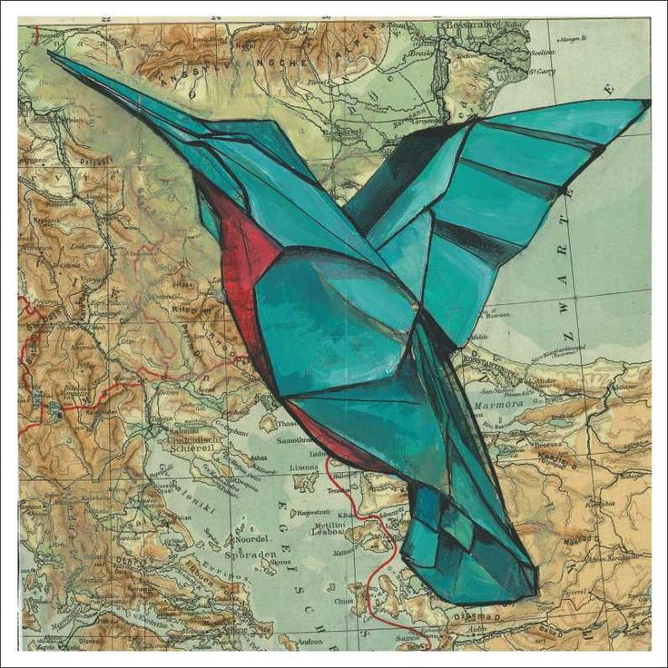 """""""Origami Hummingbird"""" by Sammy Sheppard Acrylic paint and paper."""