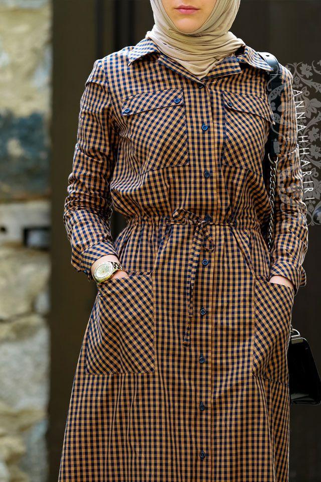 Kahverengi Kareli Elbise - All Stars Plaid Elbise