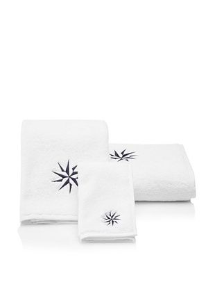 57% OFF Haute Home Compass Star Terry Towel Set, Navy/White