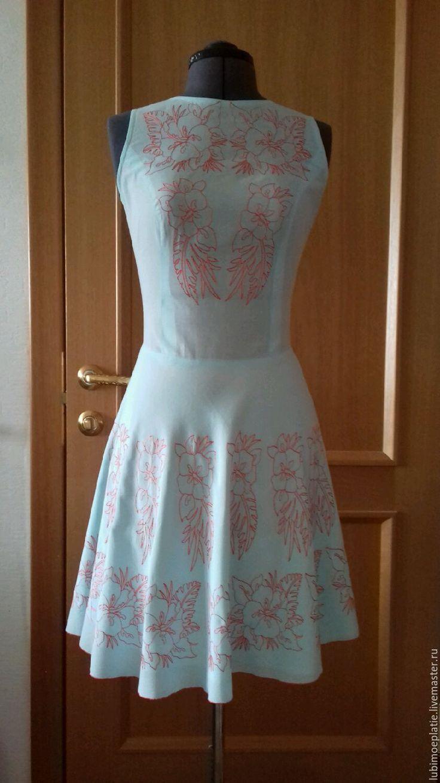 """Купить Платье """"Цветы гибискуса"""". - компьютерная вышивка, цветочный рисунок, юбка полусолнце, сорочечный хлопок"""
