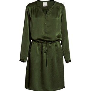 "SUST SILK Luxury Dress, long sleeves, army. Beautiful and exclusive dress with long sleeves and a shiny surface.  Made from 100% silk in ""dead stock"", which means that it's made from residues from other collections."