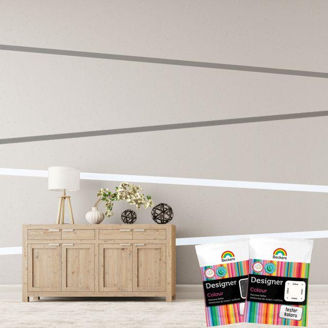 Saszetki z farbami Beckers Designer Colour idealnie sprawdzają się nie tylko do testowania odcieni – możecie z ich pomocą wymalować niewielkie kolorowe kształty na ścianach, bez konieczności kupowania dużego opakowania farby. Co powiecie na taki wzór?