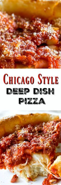 Here's how to make authentic-tasting Chicago deep dish pizza. Complete with the buttery crust, slightly sweet tomato sauce, and a thick layer of cheese. Find recipe at redstaryeast.com.