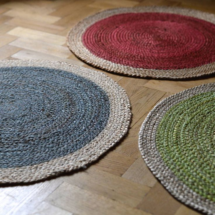 Round braided jute rugs.These are great, round breaded jute rugs, which come in a range of great vibrant colours. They have a great pop of colour at their centre and a lovely, natural edge. with a colourful striped detail at the edge. They would make a great kitchen or hallway rug , but are equally good in a child's bedroom. They look great on their own or throw down a few for a funky, eclectic mix.Braided jute.D:60cm